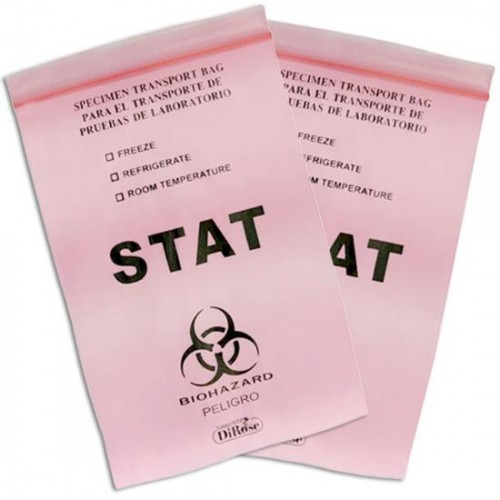 6x9 2 Mil  Red Tinted Three Wall Medical Transport Specimen Bag With Biohazard Logo , Printed Stat