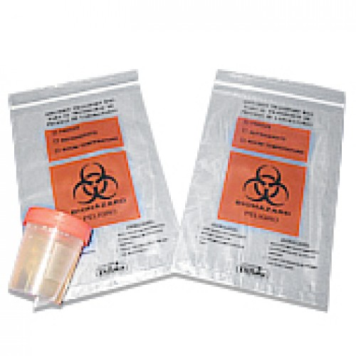13x15,  2 Mil  Three Wall Medical Transport Specimen Bag With Biohazard Logo