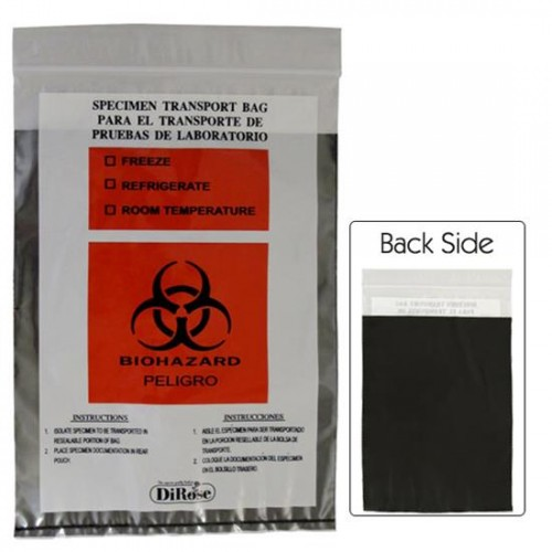 6x9,  2 Mil Three Wall Medical Transport Specimen Bag with Black Privacy Pouch and Biohazard Logo